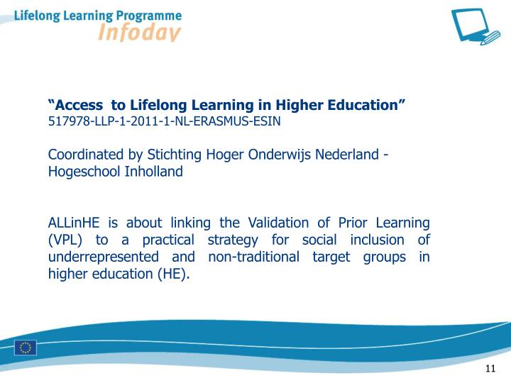 """""""Access  to Lifelong Learning in Higher Education"""""""