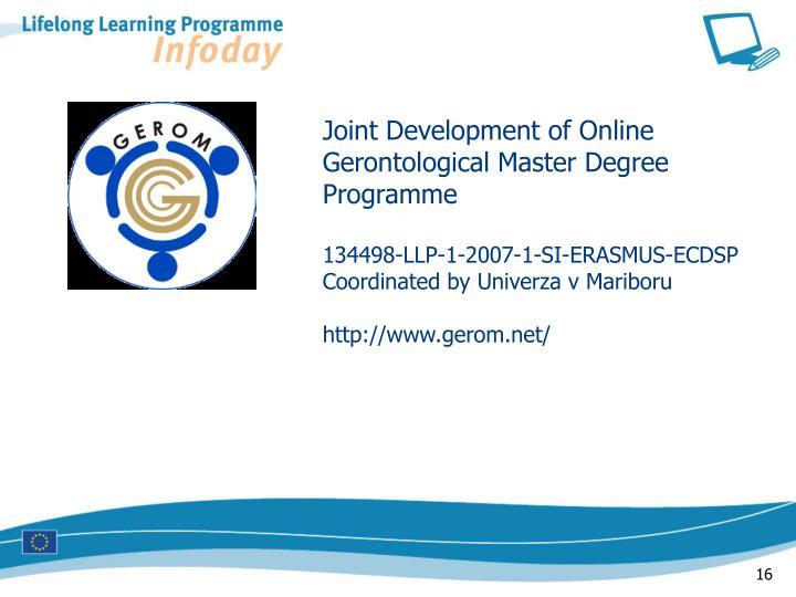 Joint Development of Online Gerontological Master Degree Programme
