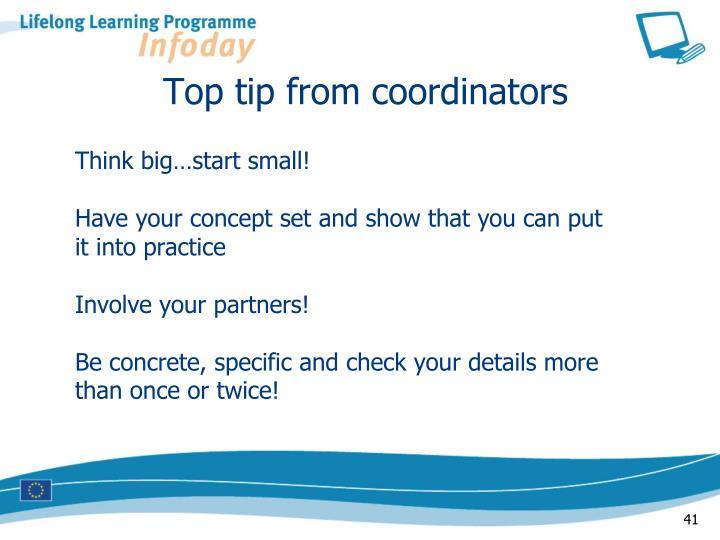 Top tip from coordinators