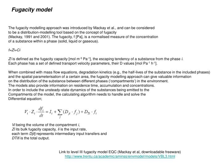 Fugacity model