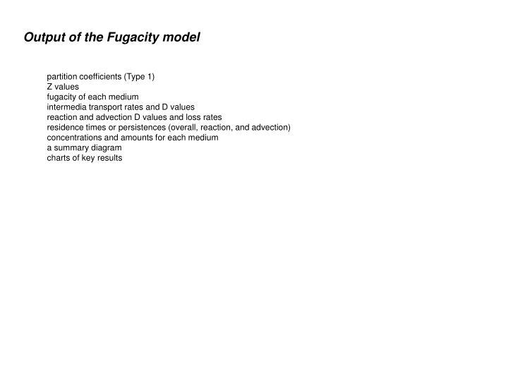 Output of the Fugacity model