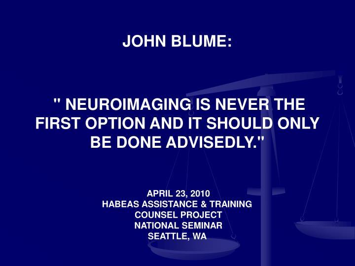 JOHN BLUME: