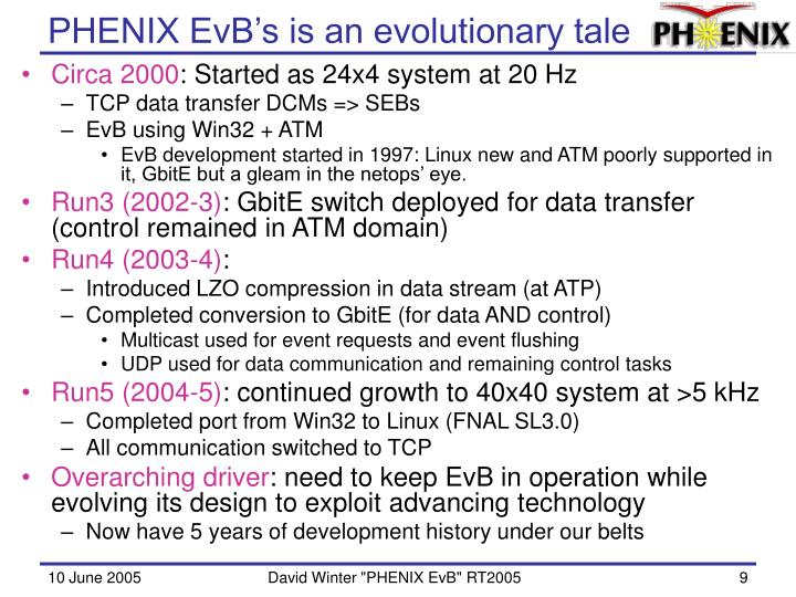PHENIX EvB's is an evolutionary tale