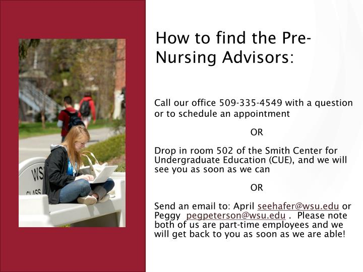 How to find the Pre-Nursing Advisors: