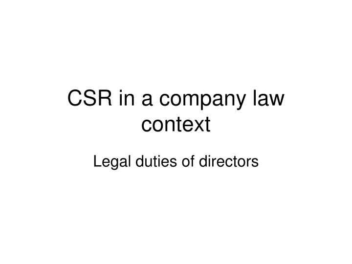 csr in a company law context n.