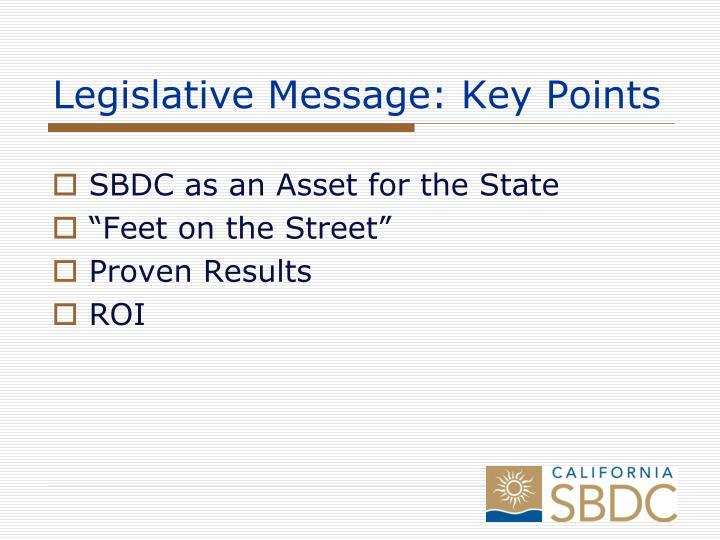Legislative Message: Key Points