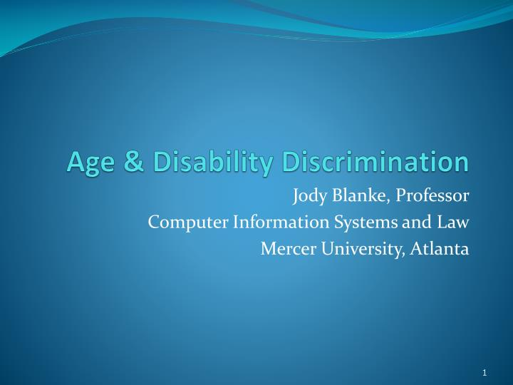 age disability discrimination n.