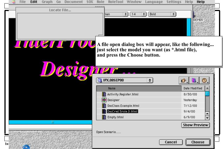 A file open dialog box will appear, like the following...