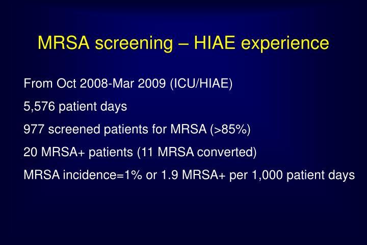 MRSA screening – HIAE experience