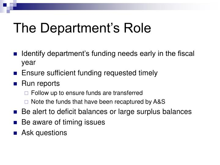 The Department's Role