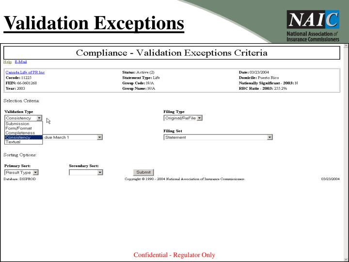 Validation Exceptions