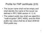 profile for fap certificate 2 3