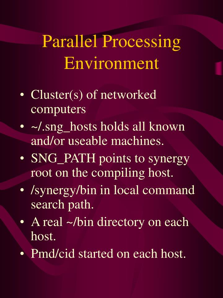 Parallel processing environment