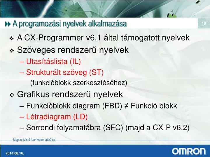 A programozási nyelvek alkalmazása
