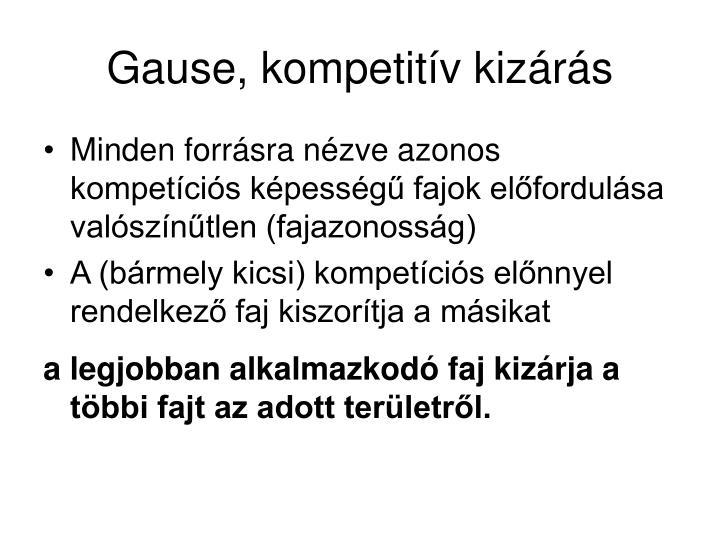 Gause, kompetitív kizárás