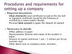 procedures and requirements for setting up a company