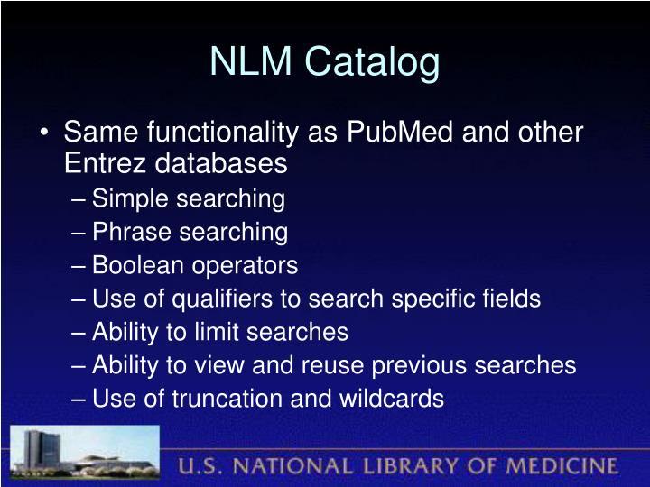 NLM Catalog