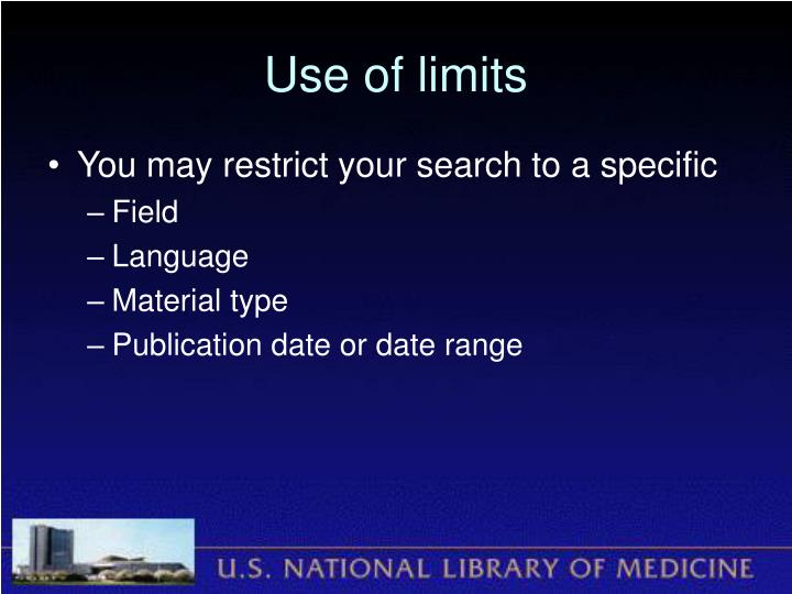 Use of limits