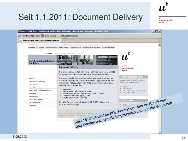 Seit 1.1.2011: Document Delivery