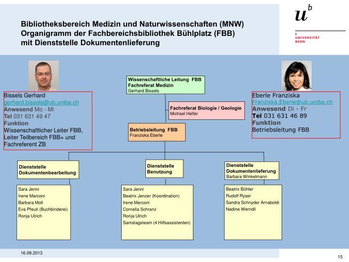 Bibliotheksbereich Medizin und Naturwissenschaften (MNW)