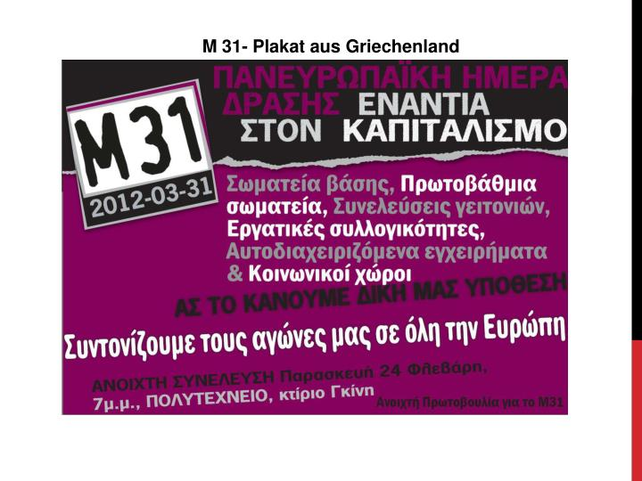 M 31- Plakat aus Griechenland