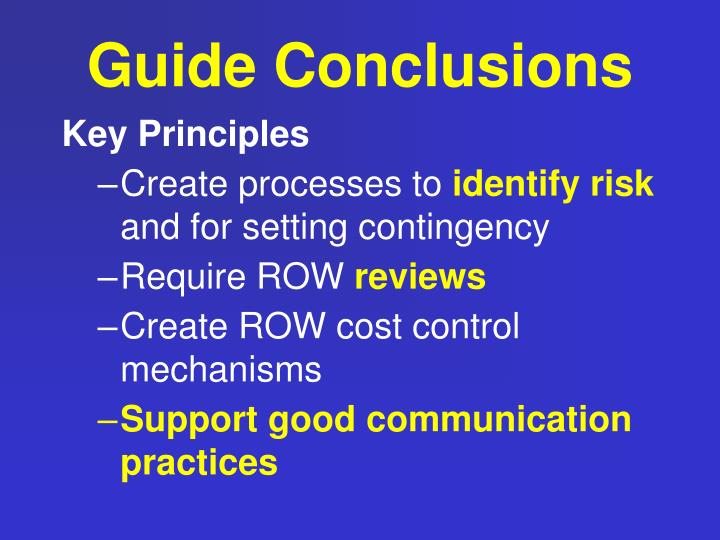 Guide Conclusions
