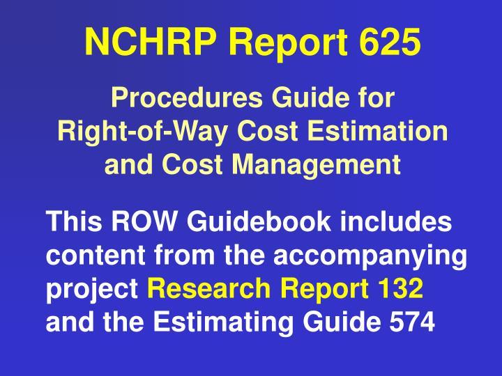 NCHRP Report 625