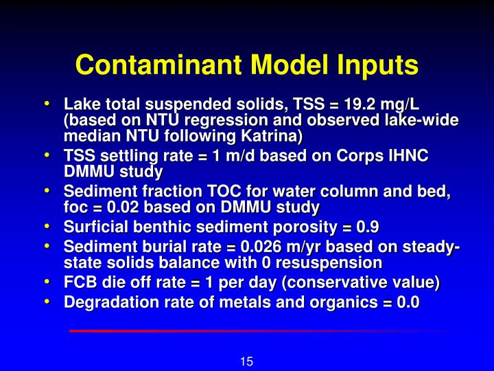 Contaminant Model Inputs