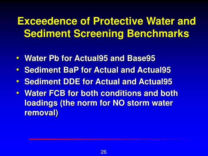 Exceedence of Protective Water and Sediment Screening Benchmarks