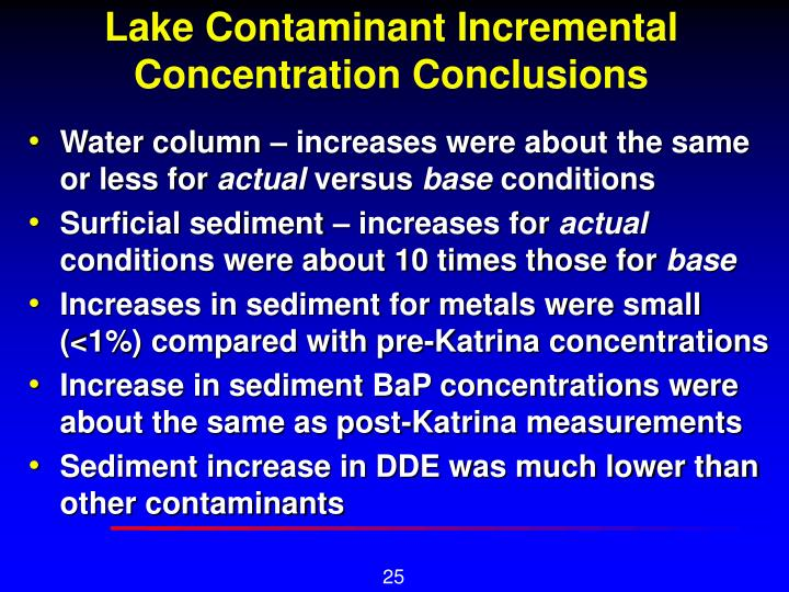 Lake Contaminant Incremental Concentration Conclusions