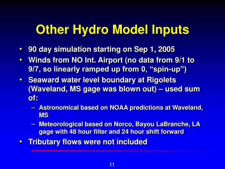 Other Hydro Model Inputs