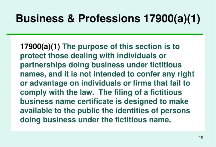 Business & Professions 17900(a)(1)