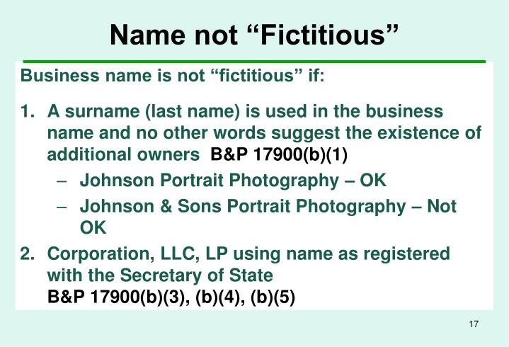 """Name not """"Fictitious"""""""