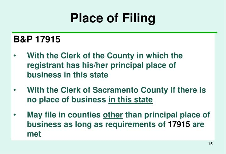 Place of Filing
