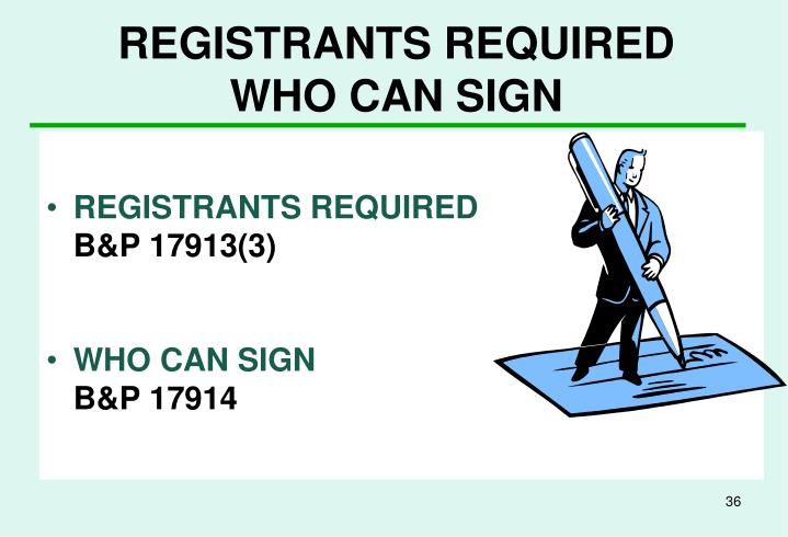 REGISTRANTS REQUIRED