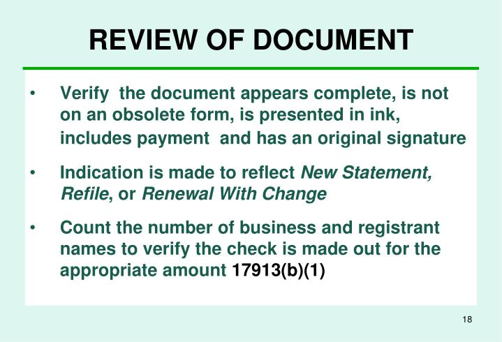 REVIEW OF DOCUMENT