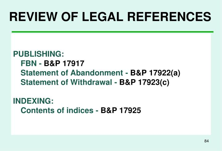 REVIEW OF LEGAL REFERENCES
