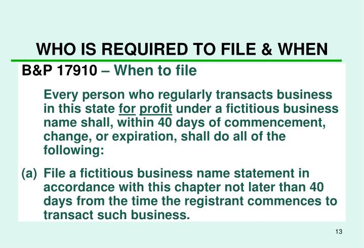 WHO IS REQUIRED TO FILE & WHEN