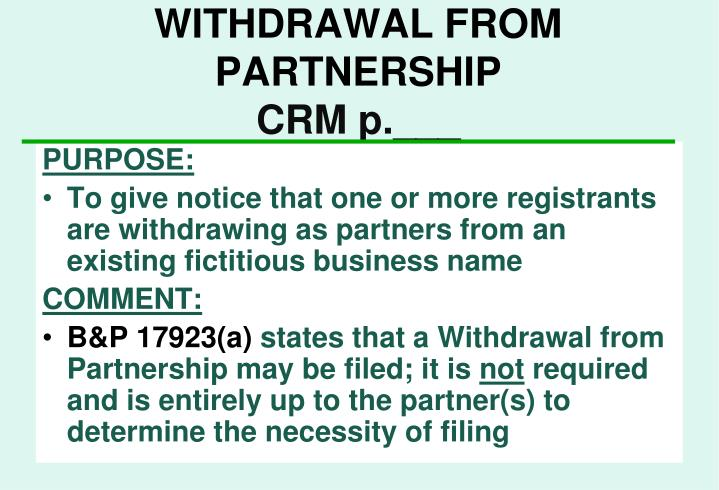 WITHDRAWAL FROM PARTNERSHIP