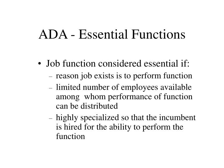 ADA - Essential Functions