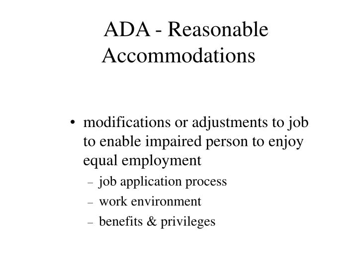 ADA - Reasonable Accommodations