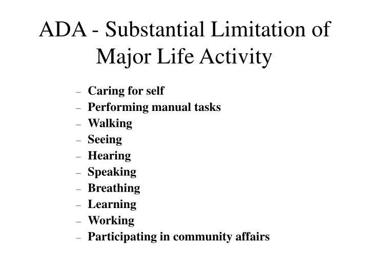 ADA - Substantial Limitation of Major Life Activity