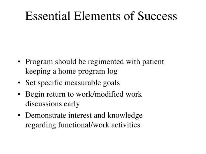 Essential Elements of Success