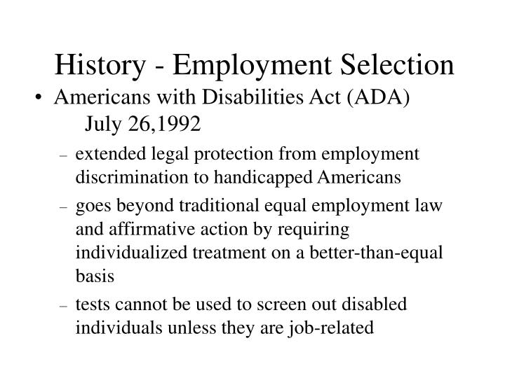History - Employment Selection