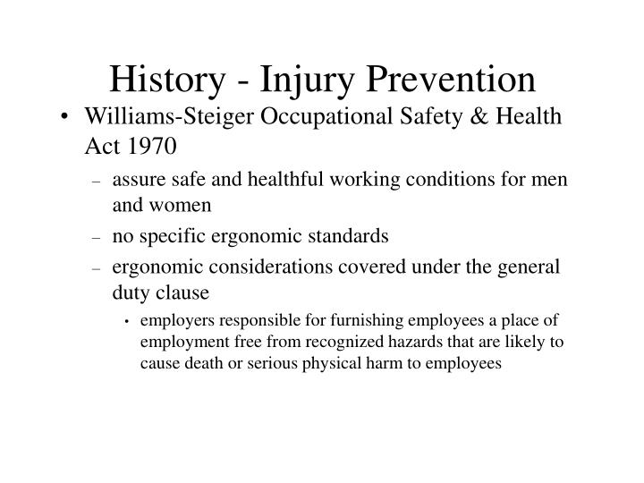History - Injury Prevention