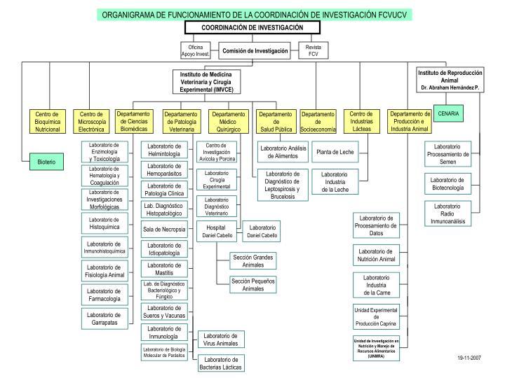 ORGANIGRAMA DE FUNCIONAMIENTO DE LA COORDINACIÓN DE INVESTIGACIÓN FCVUCV