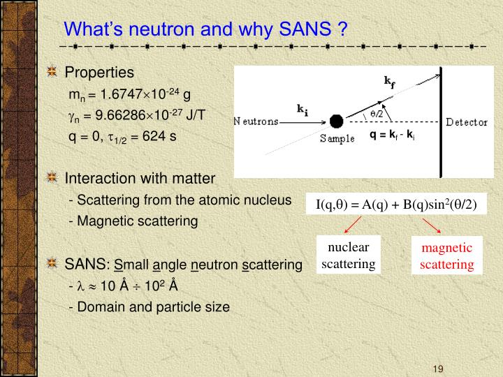 What's neutron and why SANS ?