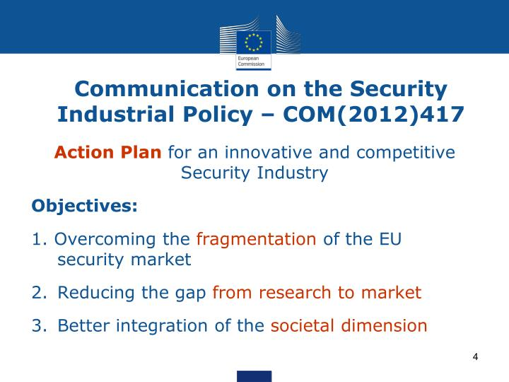 Communication on the Security Industrial Policy – COM(2012)417