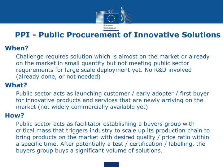 PPI - Public Procurement of Innovative Solutions