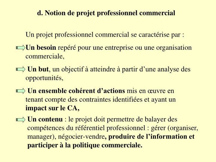 d. Notion de projet professionnel commercial